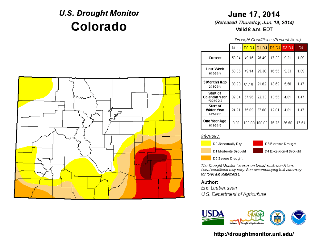 Most recent map from the U.S. Drought Monitor