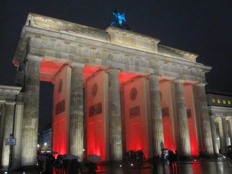 The Brandenburg Gate has become a symbol of peace in Germany, and is lighted at night.