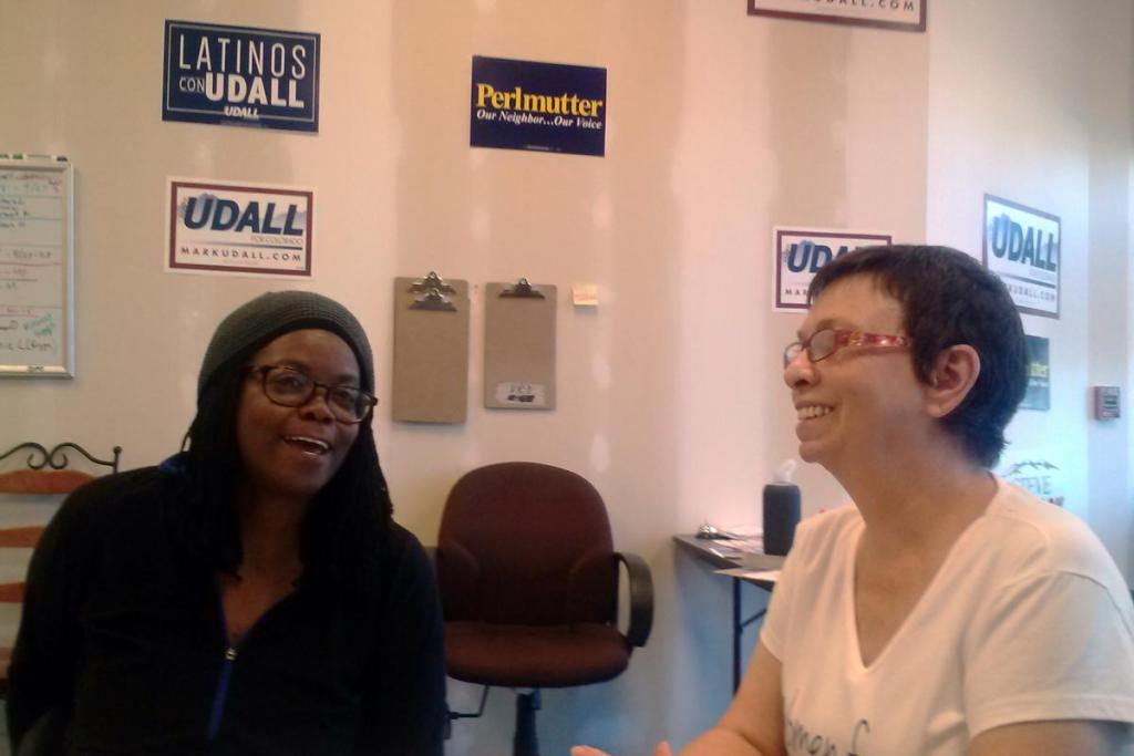 Two volunteers at a Senator Mark Udall field office in heavily Latino Adams County. They were there to help rally the Latino vote and knock on doors.