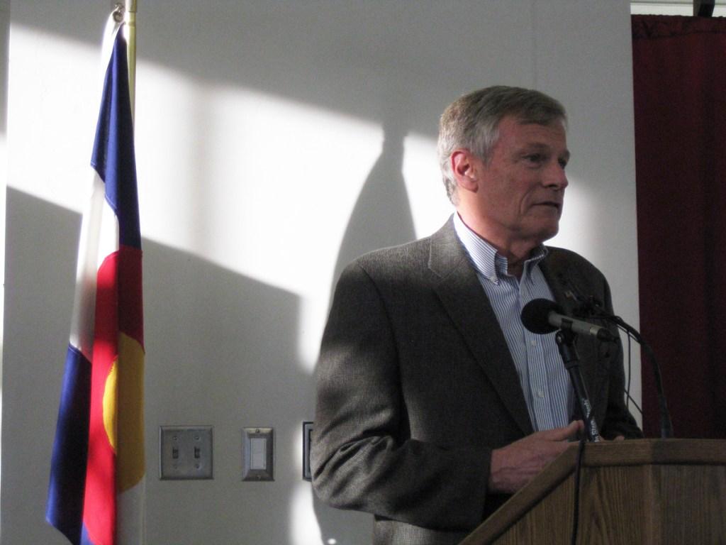 """Democratic challenger Irv Halter speaks at the """"chicken debate."""""""