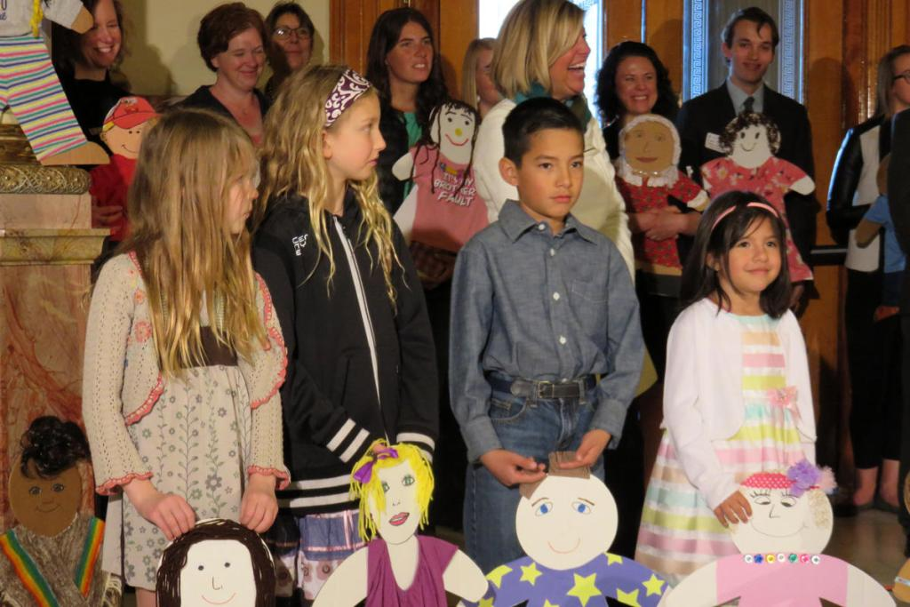 Children visit the state capitol for the release of the annual Kids Count Report from the Colorado Children's Campaign.