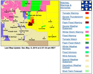 The National Weather Service has issued a series of watches and warnings across Colorado. This image as of 2:57 PM.