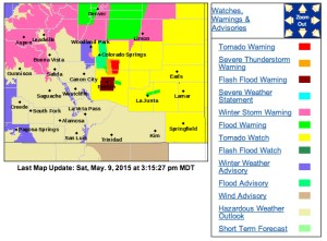 The National Weather Service has issues a series of watches and warnings across southern Colorado. This image as of 3:15 PM.
