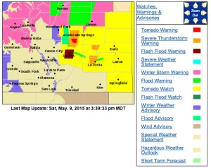The National Weather Service has issued a series of warnings and watches across southern Colorado. 3:39 PM