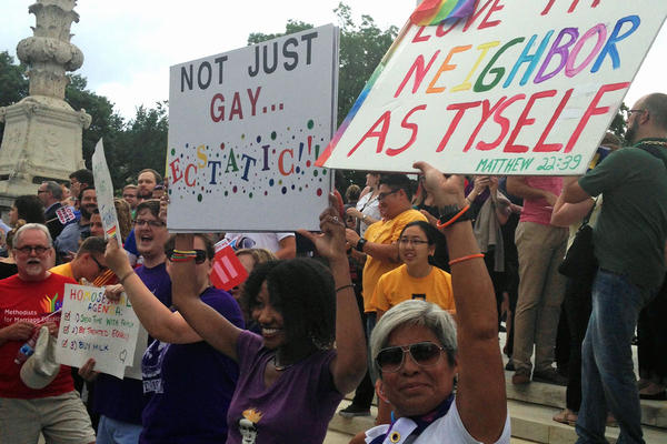 An excited crowd outside of the U.S. Supreme Court following the 5-4 decision legalizing gay marriage nationwide, June 26, 2015.