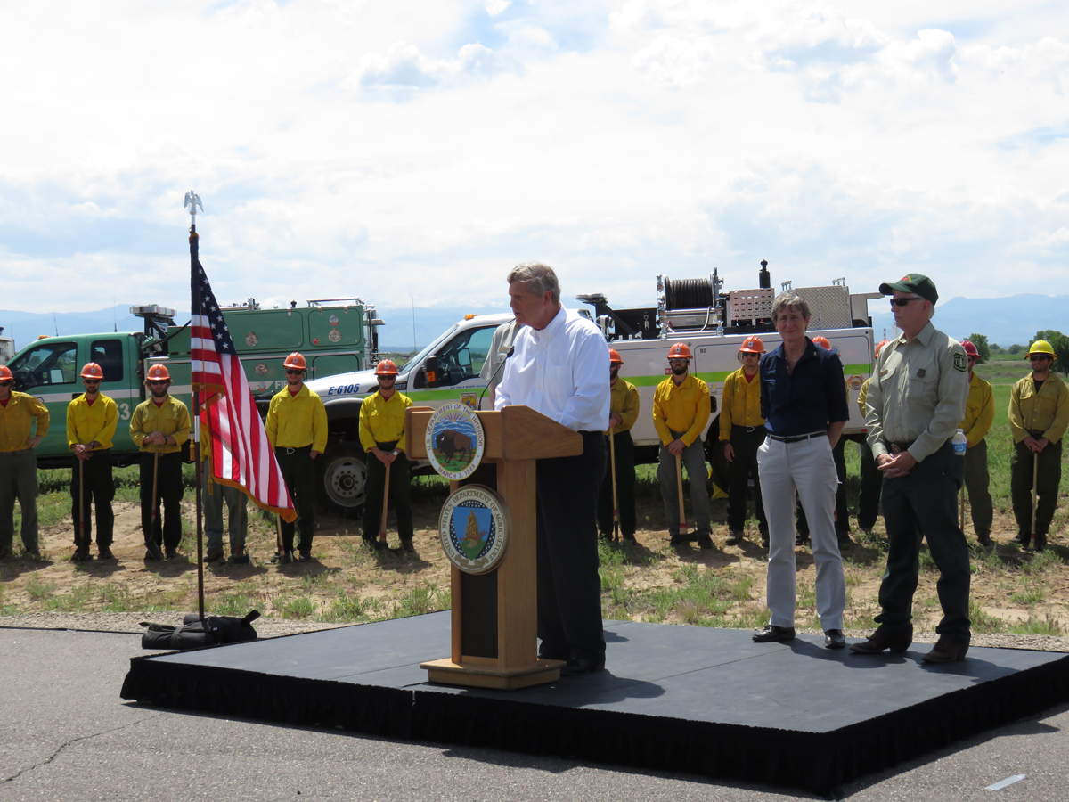 U. S. Agriculture Secretary Tom Vilsack and Interior Secretary Sally Jewell were at the Rocky Mountain Arsenal in Commerce City to urge a change in how the federal government funds large wildfire suppression.