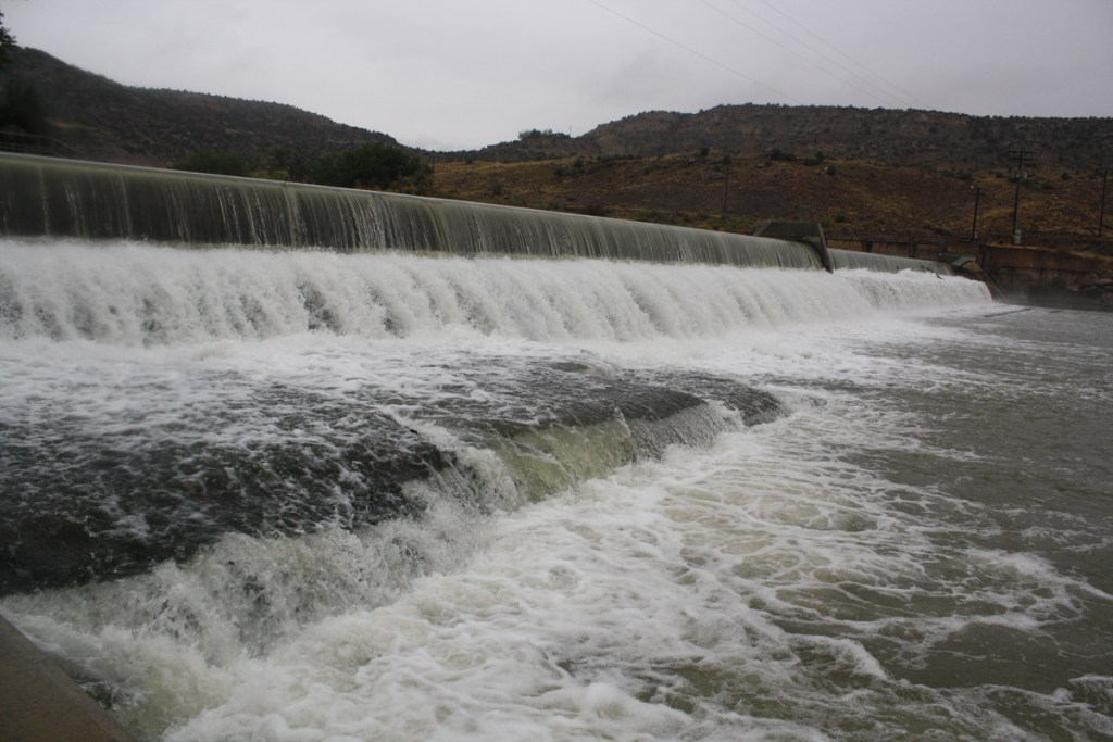 The Redlands Diversion Dam straddles the Gunnison River, a tributary of the Colorado River.