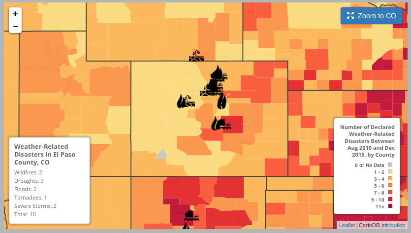 An interactive map at Environment Colorado counts weather disasters