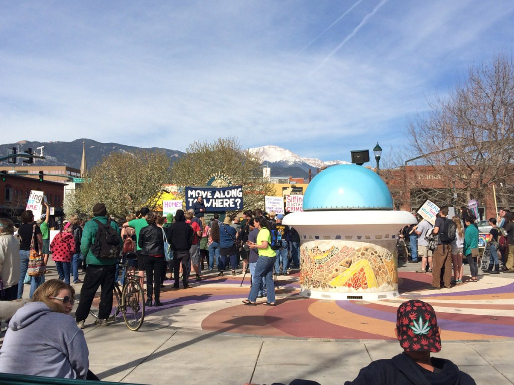 A protest of Colorado Springs' new Pedestrian Access Act took place in Acacia Park the day enforcement officially began.