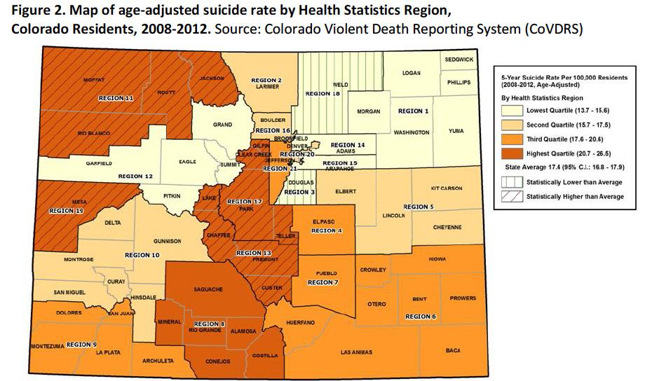 A regional breakdown of suicide rates in Colorado, 2008-2012