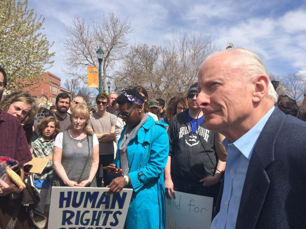 Colorado Springs City Councilman Bill Murray observed the protest, and answered questions