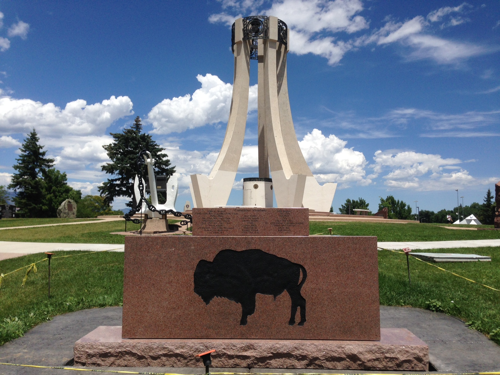 The back side of the Buffalo Soldier Memorial monument at Memorial Park.