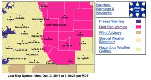 A red flag warning is in effect for much of southern Colorado, 10/3/16 (Expired 7PM)