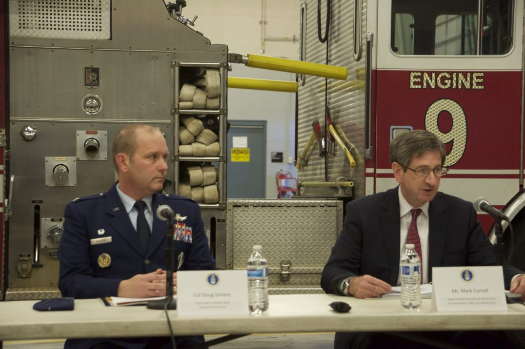 Col. Douglas Schiess, Peterson AFB Commander (left) and Mark Correll, Deputy Assistant Secretary of the Air Force for Environment, Safety and Infrastructure (right) briefed the media Wednesday.