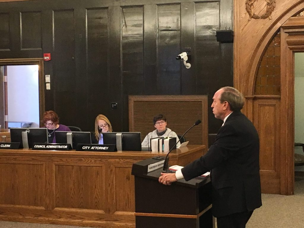 Mayor John Suthers addressing Colorado Springs city council, Tuesday, Dec. 13, 2016.