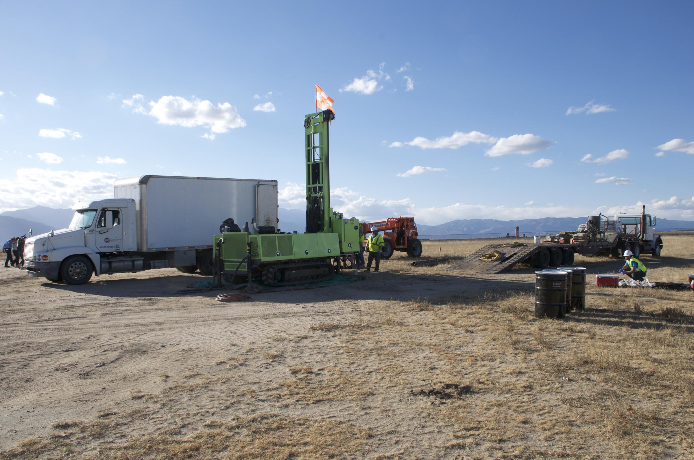 Crews drilled a monitoring well at the former site of a firefighting training are at Peterson Air Force Base. Wednesday, 11/2/16.