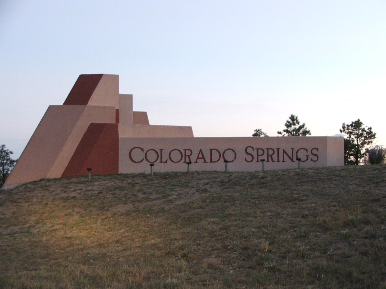 The Colorado Springs welcome sign just south of the N Gate Blvd exit on I-25 in Colorado Springs.