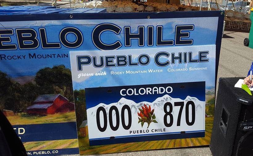 A mock-up of the license plate features a bundle of chiles.