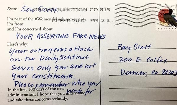 Sen. Ray Scott has received a number of postcards from constintuents since his tweet about the Grand Junction Daily Sentinel.