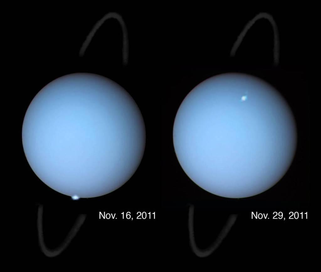 These are among the first clear images, taken from the distance of Earth, to show aurorae on the planet Uranus.
