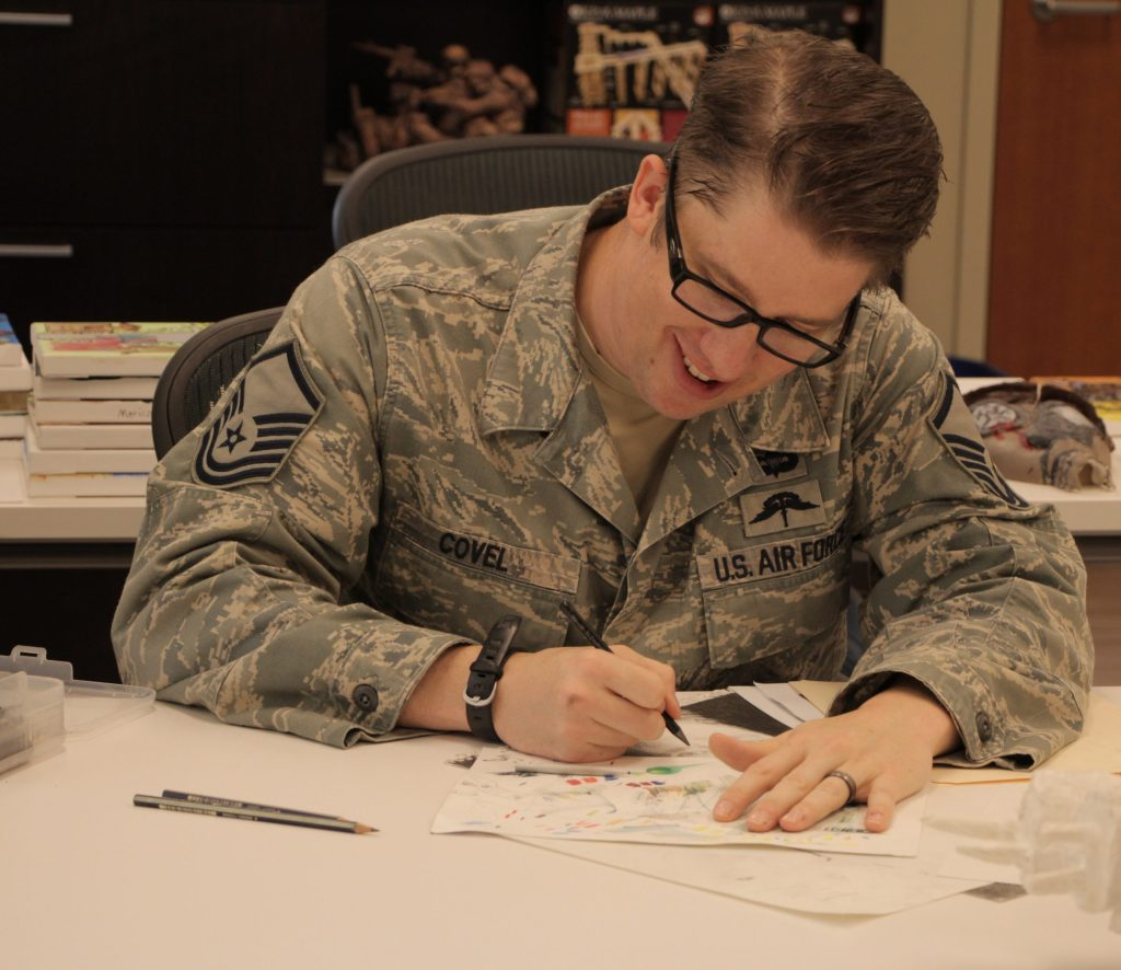 Air Force Master Sergeant Earl Covel working on an art piece at Fort Belvoir in Virginia.