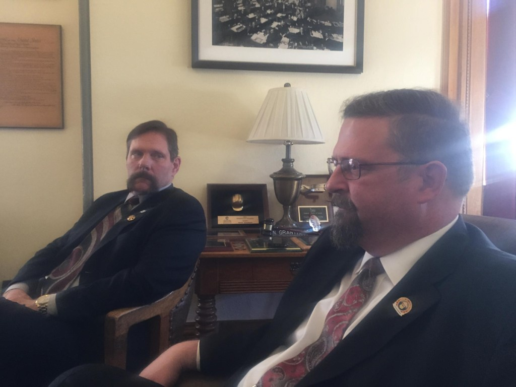 Sen. Randy Baumgardner (R-Hot Sulphur Springs), left, joins Senate President Kevin Grantham (R-Canon City) to tell reporters they don't have the Republican votes to pass a bipartisan transportation funding bill.