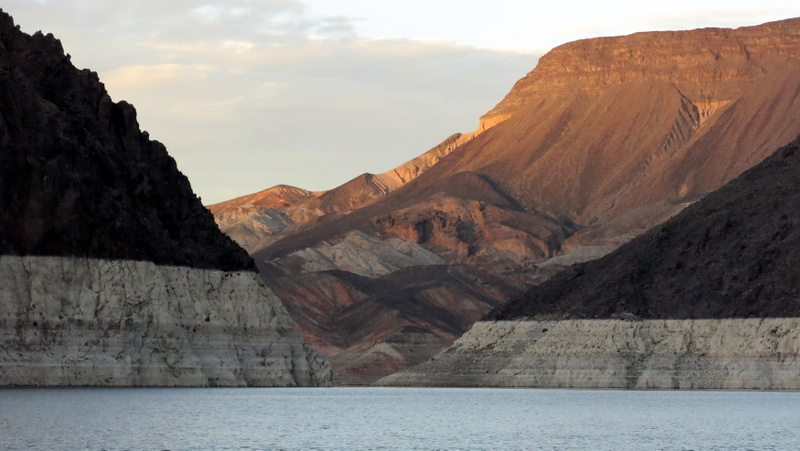 """Lake Mead, which is created by the Hoover Dam on the Colorado River, has an exposed """"bathtub ring"""" showing prior water levels."""