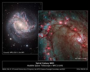 Hubble image showcases star birth in M83, the Southern Pinwheel