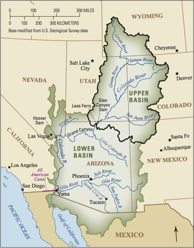 A map of the Colorado River Basin.