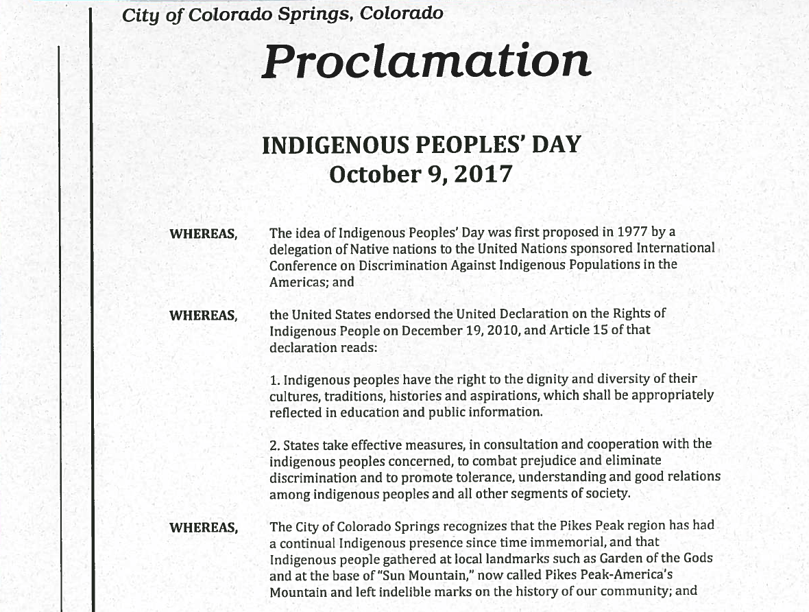 A cropped image of a copy of the proclamation, signed by Colorado Springs City Council President Richard Skorman, declaring October 9th, 2017 as Indigenous Peoples' Day.