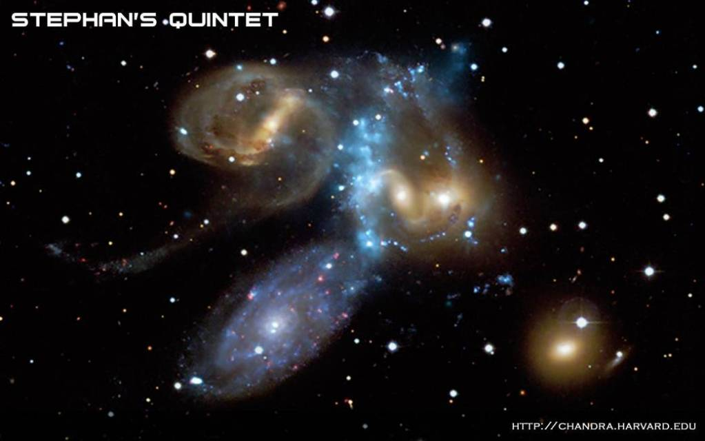 This beautiful image gives a new look at Stephan's Quintet, a compact group of galaxies discovered about 130 years ago and located about 280 million light years from Earth.