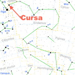Beta Eridani (β Eridani, abbreviated Beta Eri, β Eri), also named Cursa,[13] is the second-brightest star in the constellation of Eridanus, located in the northeast end of this constellation near the shared border with Orion.