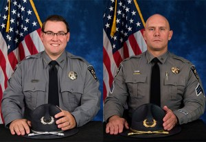 Deputy Scott Stone (left) and Sergeant Jake Abendshan were injured in Monday's shooting.