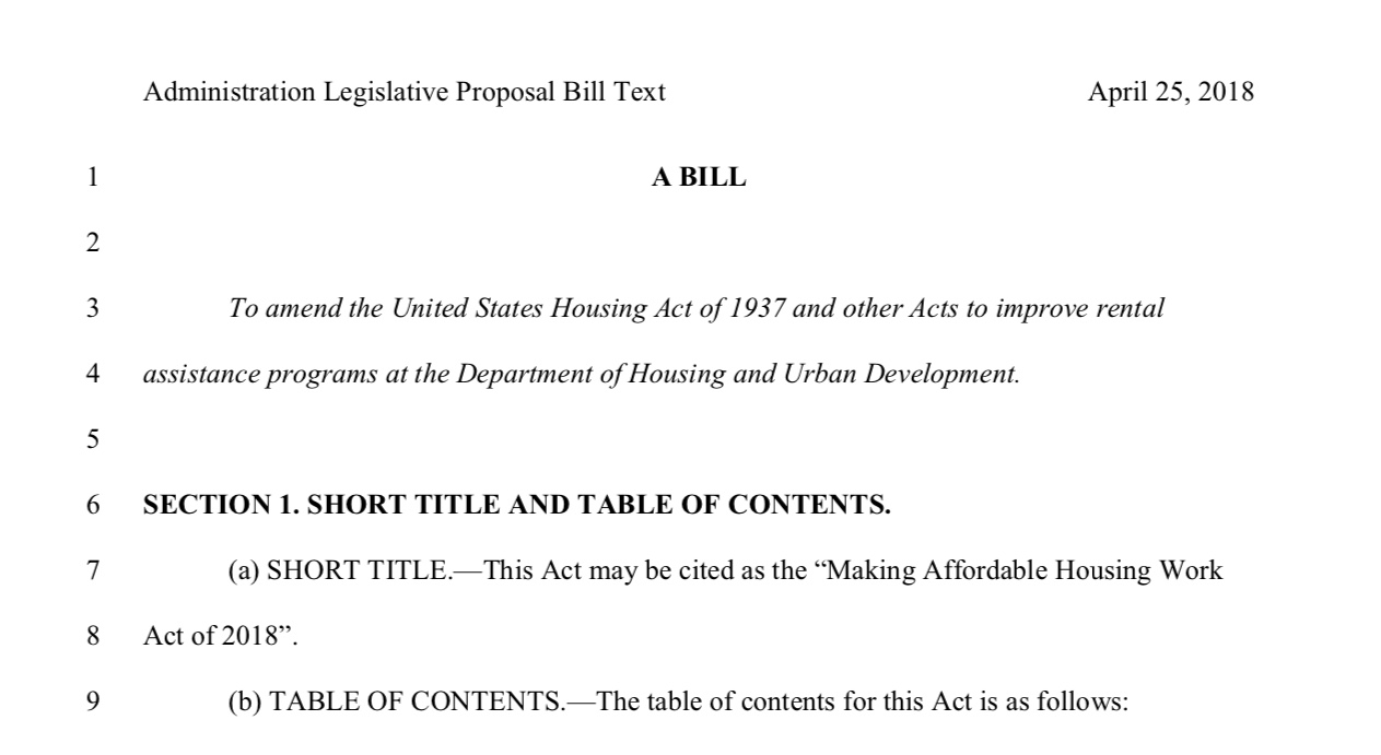 """Proposed """"Making Affordable Housing Work Act of 2018"""""""