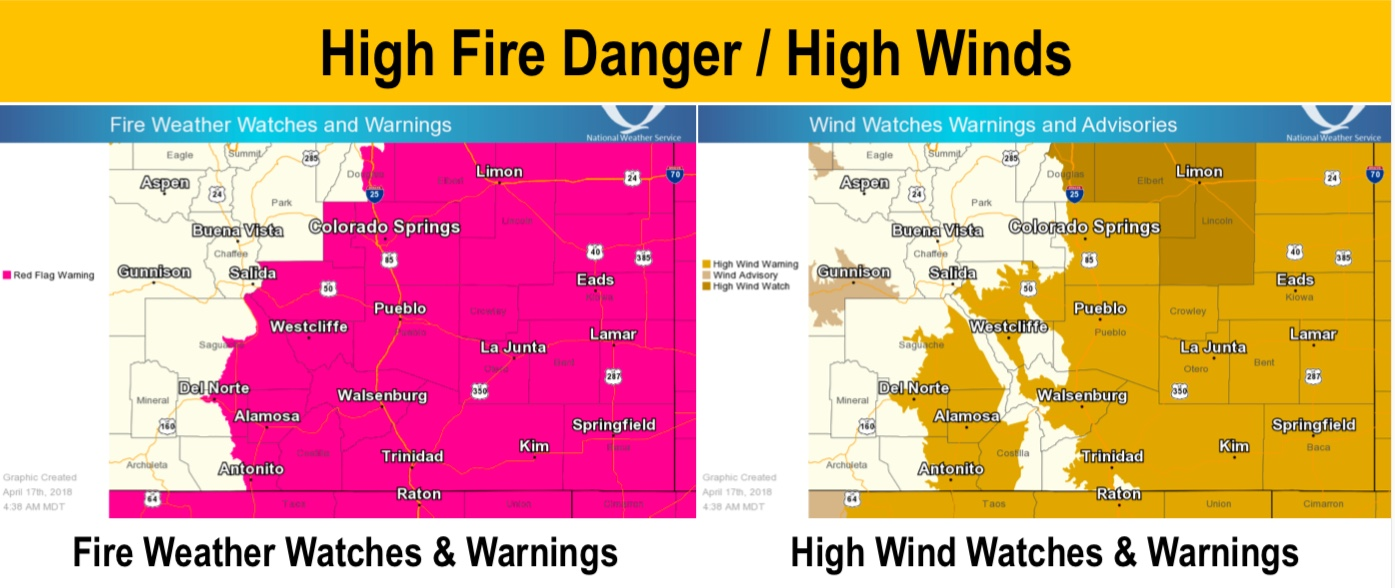 The National Weather Service in Pueblo issued Red Flag Warnings and High Wind Warnings for much of southern and eastern Colorado. 4/17/18, 4:38 a.m.