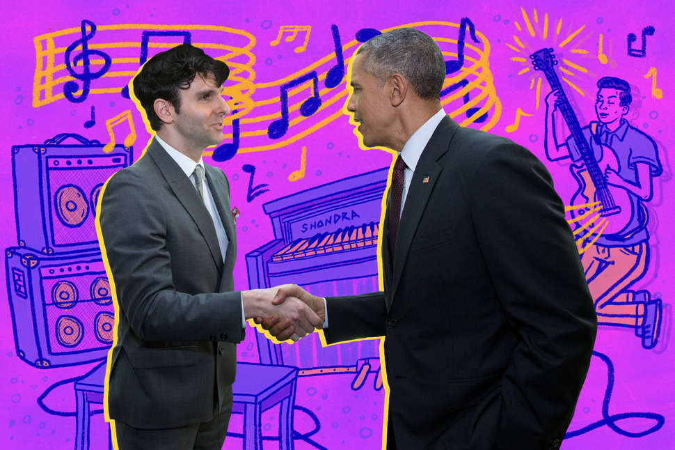 Low Cut Connie frontman Adam Weiner with President Barack Obama, who once named Low Cut Connie as one of his favorite bands.