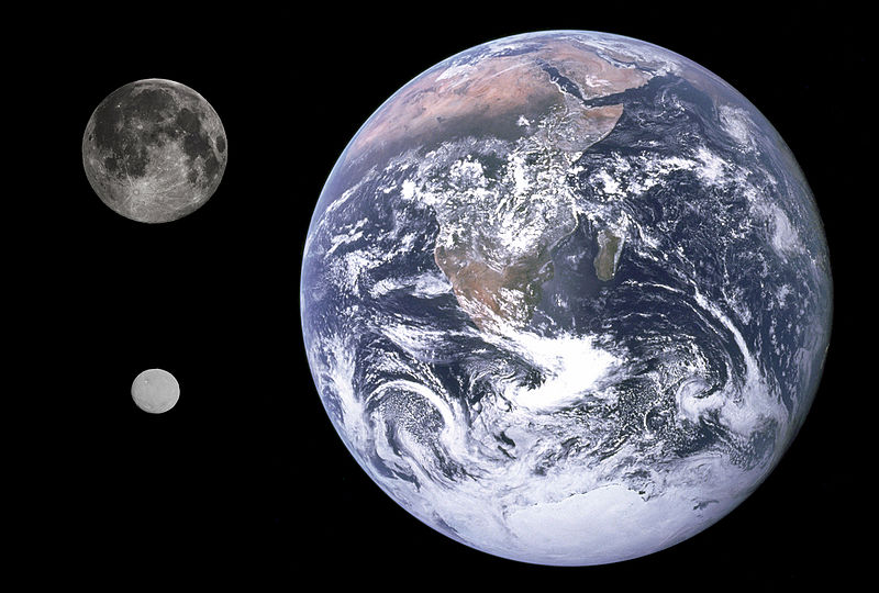 The Earth, moon, and Ceres in comparison