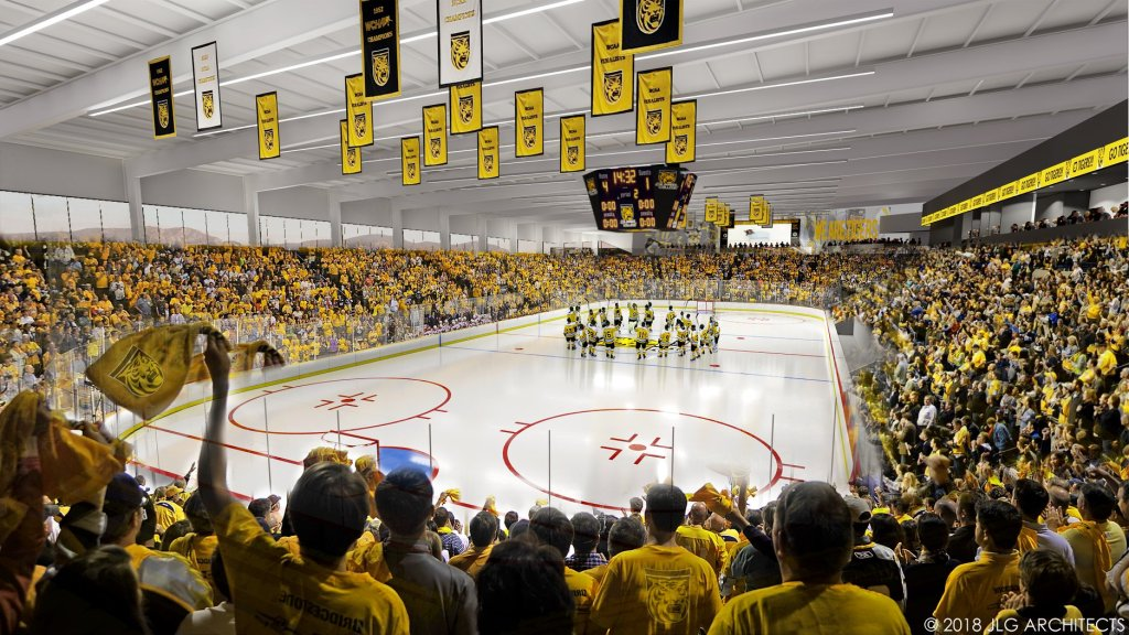 A rendering of the inside of the proposed Edward J. Robson Arena.
