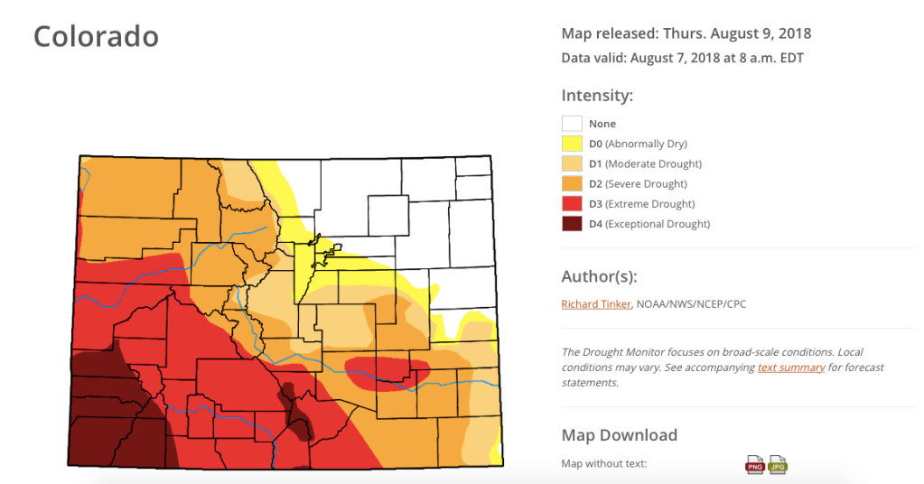 The U.S. Drought Monitor map released August 9, 2018 shows improvements in conditions in the southeastern part of Colorado.