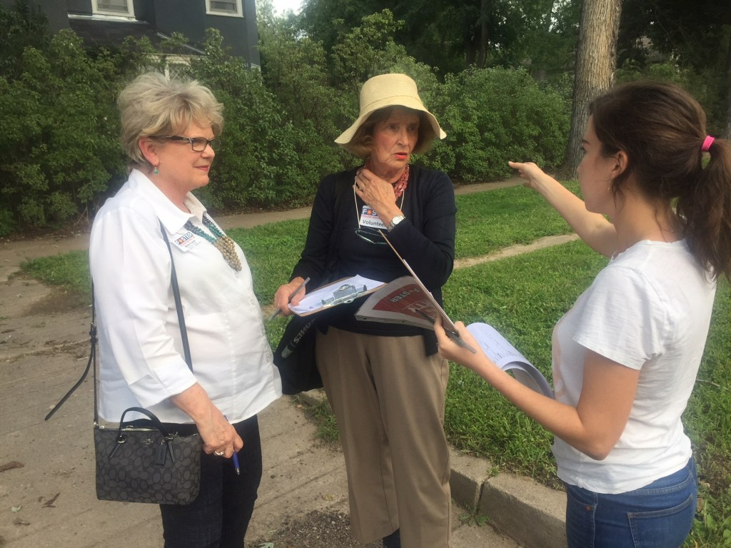 Maile Foster with two of her campaign volunteers