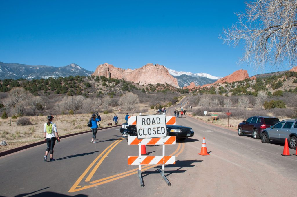 Pedestrians and bikers took full advantage of the roads through Garden of the Gods during the first Motorless Morning in April 2018. File photo.