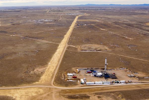 An arial shot of a well in Weld County.