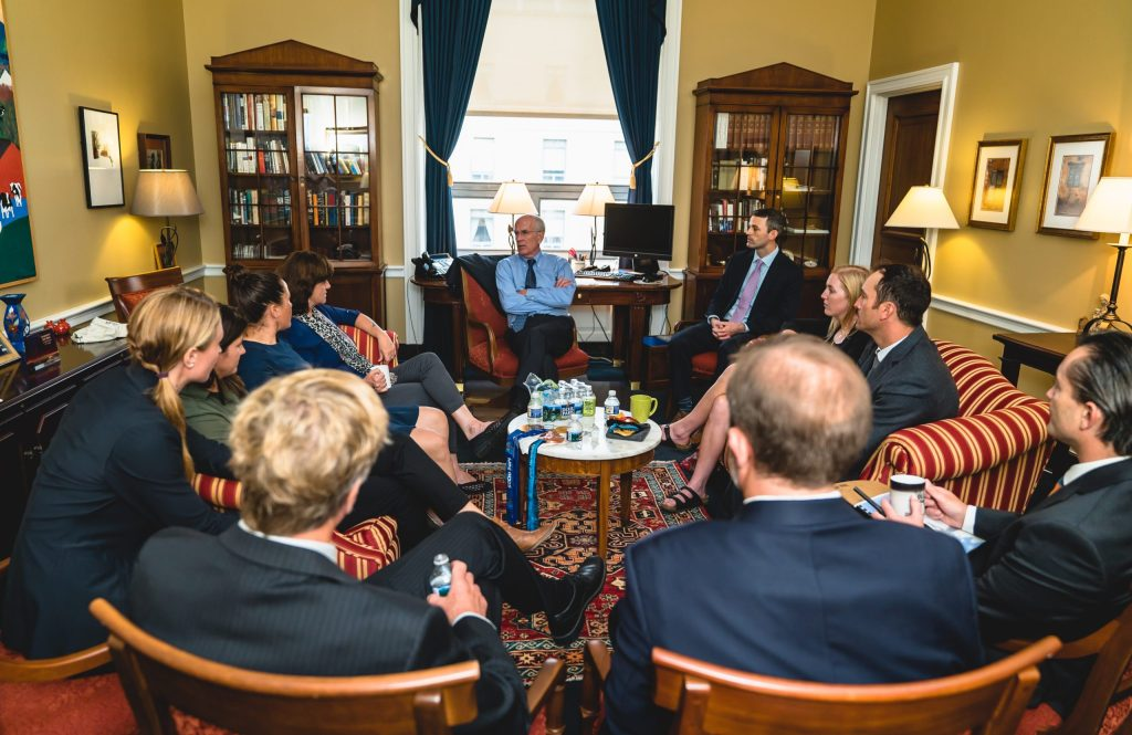 A delegation of ski industry leaders together with Protect Our Winters meets with Representative Peter Welch from Vermont.