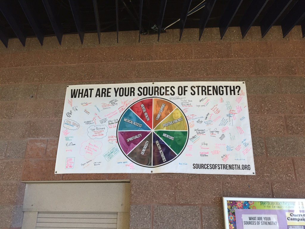 A visible sign of the Sources of Strength program on campus
