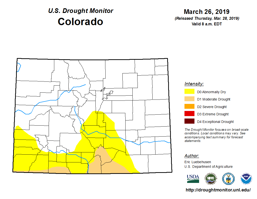 The map from the U.S. Drought Monitor showing decreased drought conditions statewide.