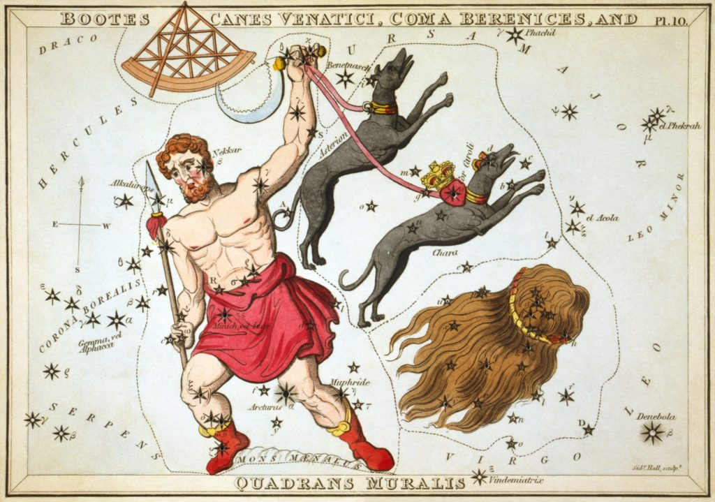 Boötes as depicted in Urania's Mirror, a set of constellation cards published in London c.1825. In his left hand he holds his hunting dogs, Canes Venatici.