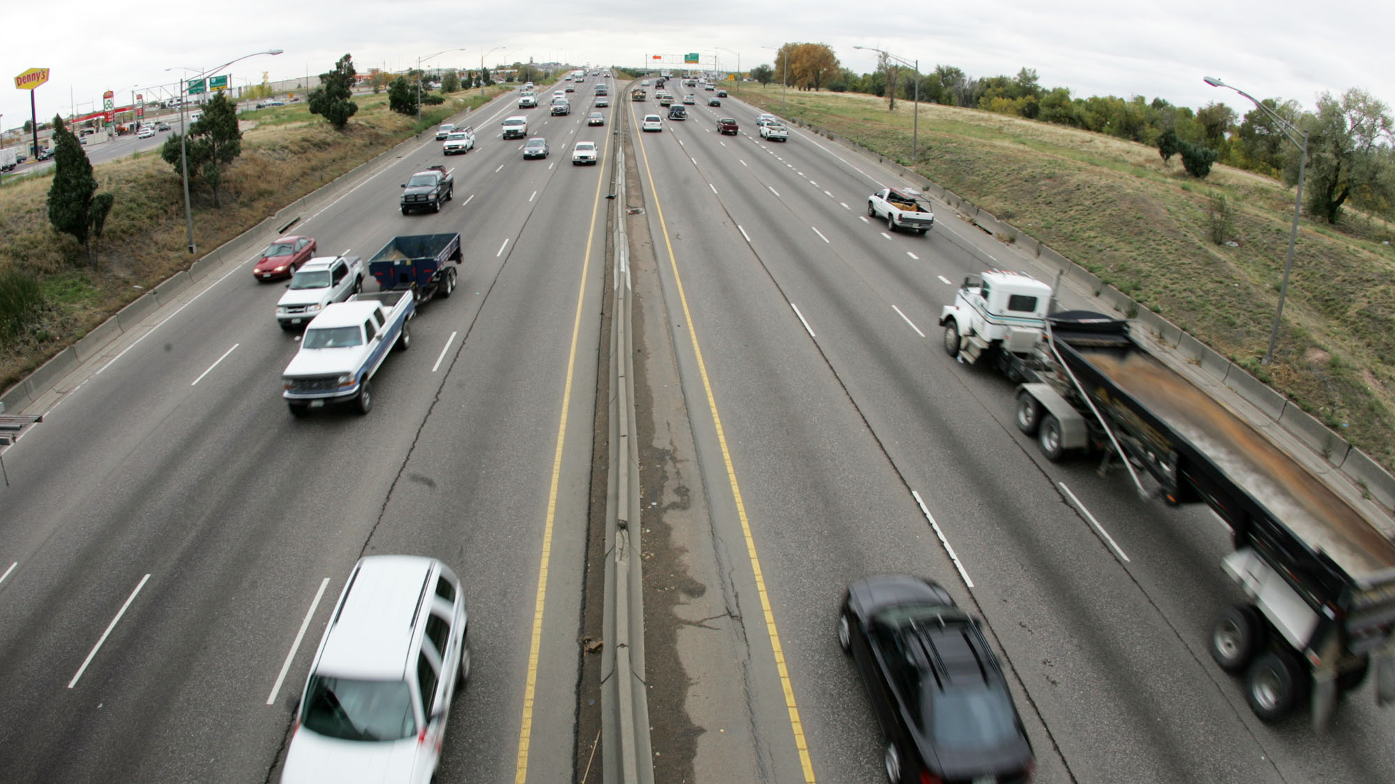 <p>Traffic rolls along Interstate 25 in northern Colorado. </p>