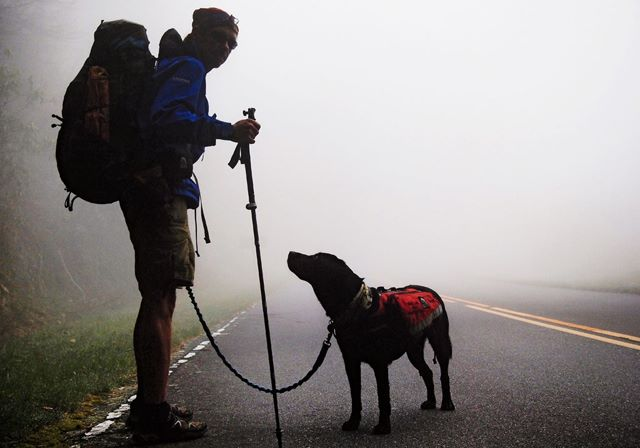 <p>Blind hiker Trevor Thomas and his guide dog, Tennile.</p>