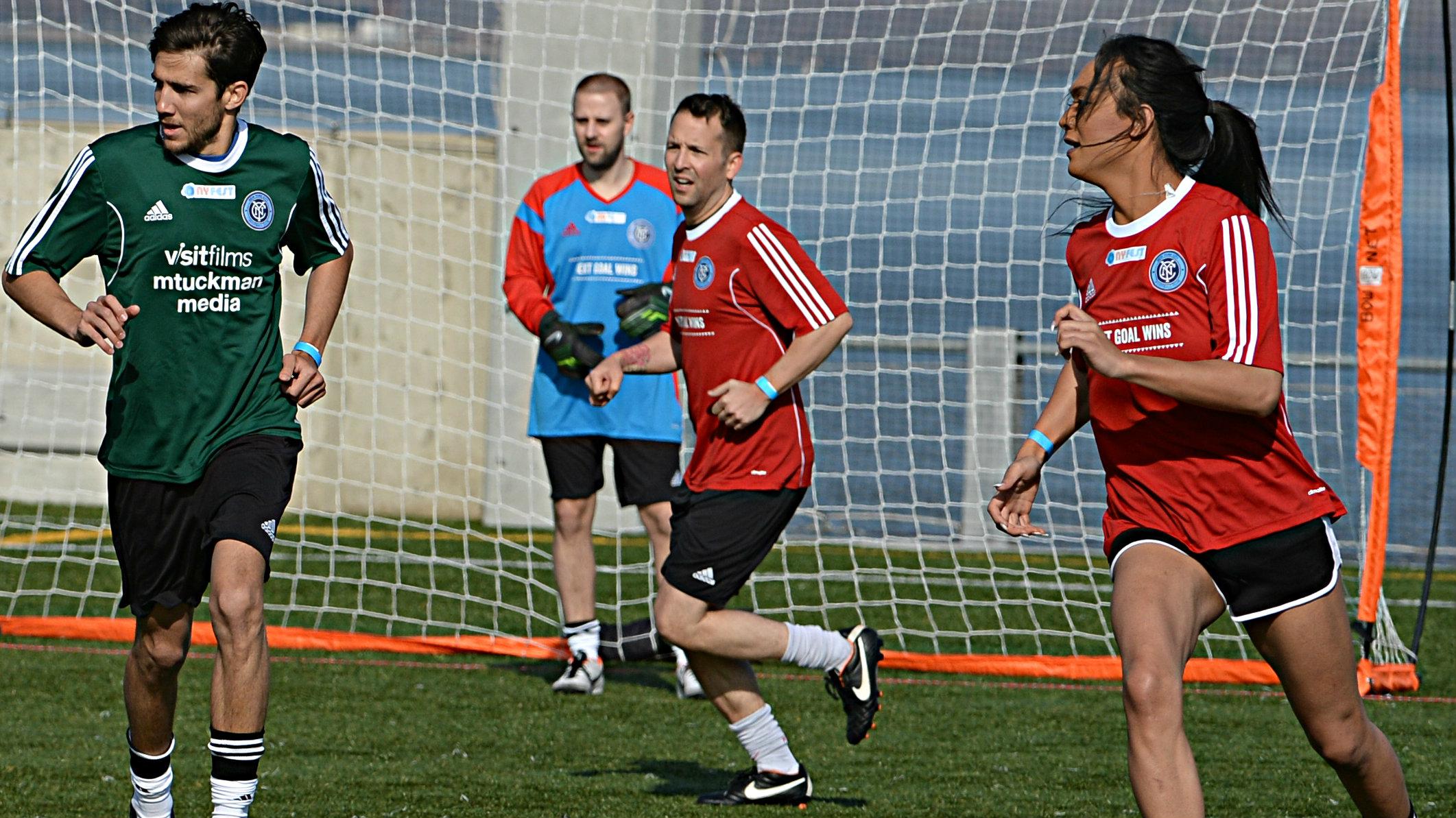 <p>Jaiyah Saelua, far right, on the pitch for American Samoa.</p>