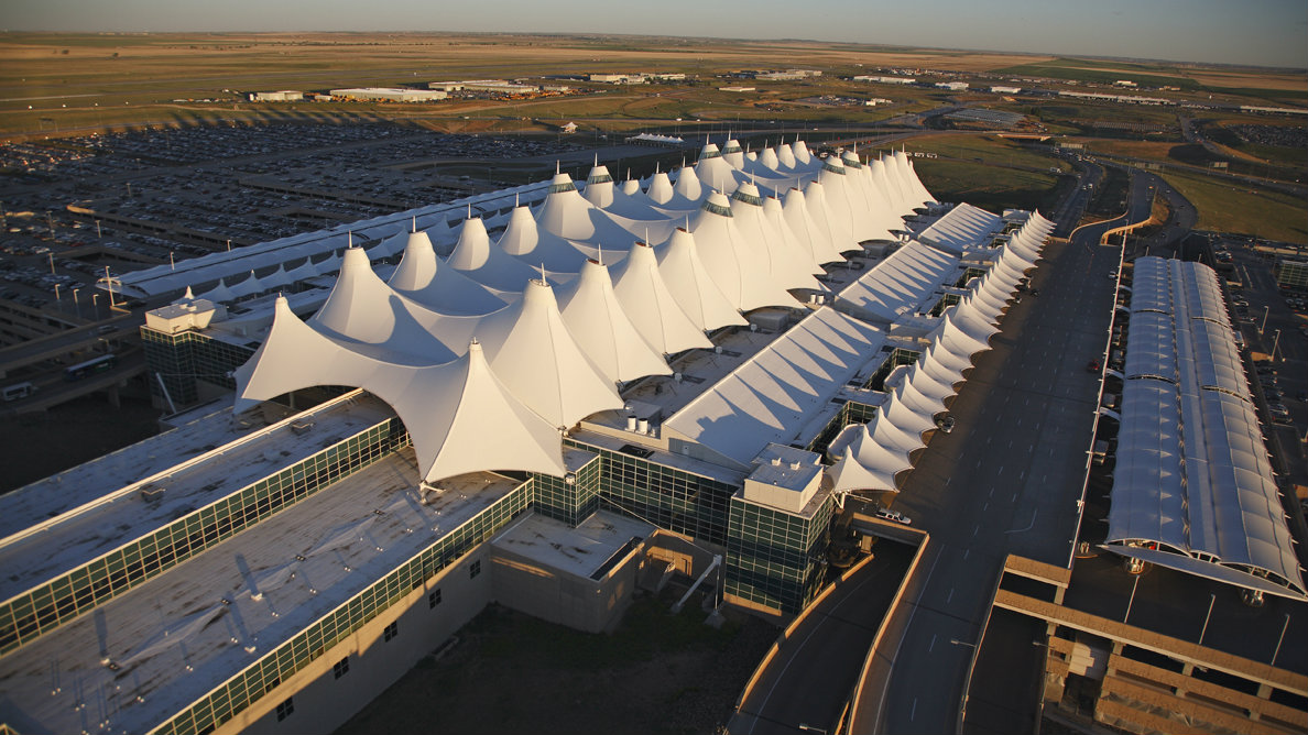 <p>An aerial view of the Jeppesen Terminal at Denver International Airport.</p>